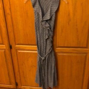 Denim blue striped wrap dress